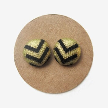 Black Gold Arrow Fabric Button Earrings // Tribal Print Earrings // Chevron // Metallic // Black and Gold // Gold and Black // Fall //Ethnic