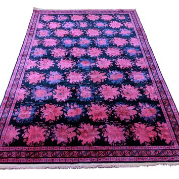 6x9 Luxury Rug Chinese Deco Design OOAK Navy Pink 100% Wool Pile 2936