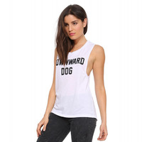 White Sleeveless Downward Dog Graphic Tee