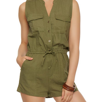 Button Front Linen Romper