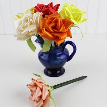 Yellow and Orange Flower Pen Set Ribbon Rose Single Color or Assortment of 6 Wedding Favors Reception Pen Party Bridal Shower Handmade