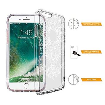 iPhone 6 Case, iPhone 6 Clear Case, MOSNOVO White Henna Floral Lace Clear Design Transparent Plastic Hard with Soft TPU Bumper Protective Back Phone Case Cover for Apple iPhone 6/6s (4.7 Inch)