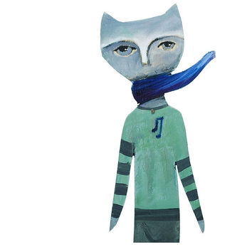 Wall art of dreamy cat with scarf - reclaimed wood - shades of green and gray - music shirt