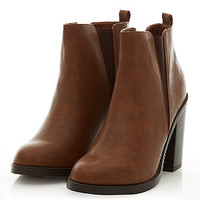 Tan Contrast Split Side Chelsea Shoe Boots