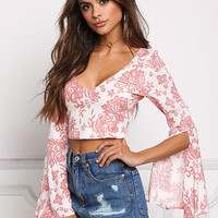 Coral Gauze Floral Tie Back Crop Top