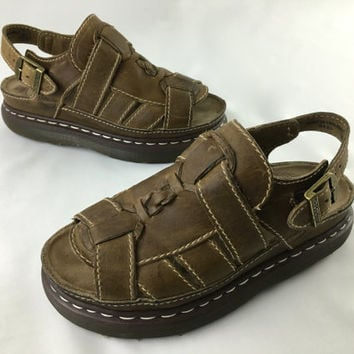 Vintage Dr. Martens Braided Camel Brown Leather Fisherman Sandals Thick Rugged Hiking Sandal Made in England UK8 US9 Men Chunky 90s Sandals