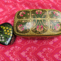 60s 70s Floral Jewelry Trinket Box Ethnic India Storage