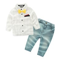 hot sale kids clothes boys clothing set casual boys clothes yellow tie shirt+ jeans kids baby boy clothes