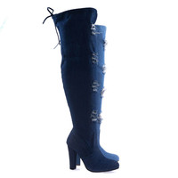 DasiaH8 Dk-Blue Denim By Forever Link, Distressed Jean Over Knee, Thigh High Boot w Torn Hole & Block Heel