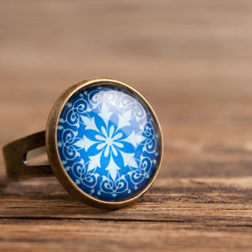 Turquoise ornament ring, adjustable ring, statement ring, brass ring, glass ring, snowflake ring, antique bronze / silver plated ring base
