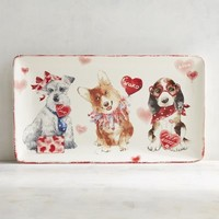 Valentine Puppies Serving Platter