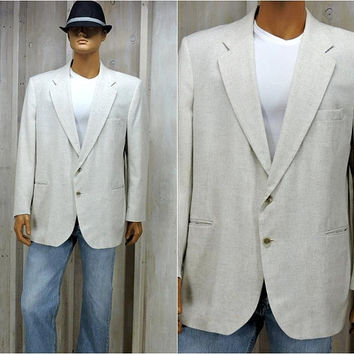 Mens Linen blazer / XL size 46 R /  White sports coat / jacket / vintage 90s / Summer blazer / Miami Vice