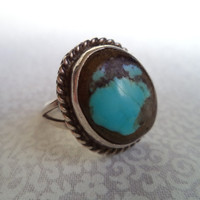 SALE Earthy turquoise and silver ring/ vintage Native American style ring/ boho jewelry/ bohemian ring size 8-8.25