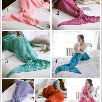 80cm*180cm Large Mermaid Blanket Pattern Crochet Mermaid Tail Knitted Mermaid Tail Blanket Adult Child 31''*71''