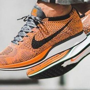 Nike Flyknit Racer Rainbow Casual Running Sport Shoes Sneakers Yellow