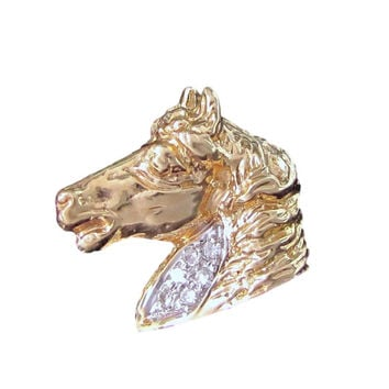 Amazing VIP HORSE Head DIAMOND 14k Gold Tie Tack Lapel Pin Figural Vintage
