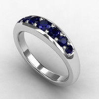 Blue sapphire ring, sapphire wedding, White gold, Blue wedding, wedding ring, half eternity, Sapphire