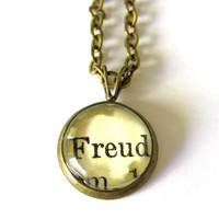 Sigmund Freud Word Mini Pendant Brass Setting Library Card Necklace One of a Kind