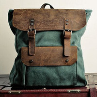 Genuine leather backpack canvas backpack