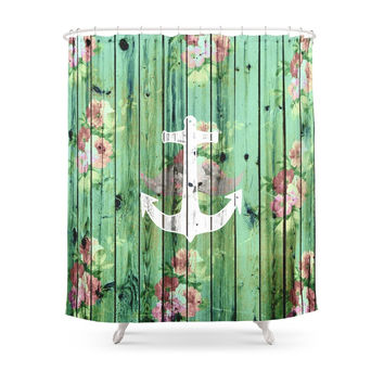 Society6 Vintage Floral Nautical Anchor Green Beach Wood Shower Curtains
