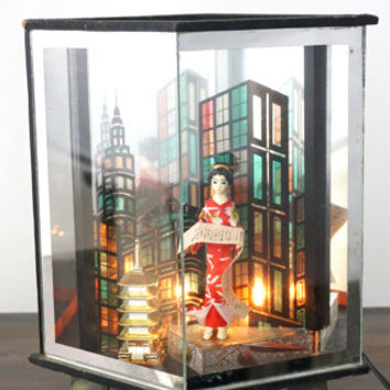 Vintage Geisha Girl Table Lamp, Night Light, Mid Century Lighting