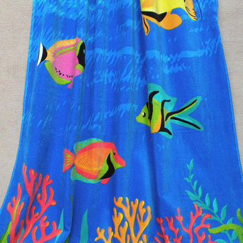 Blue Fish Coral Printed Beach Towel