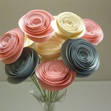 Shop paper flower arrangements on wanelo pink paper flower bouquet pink wedding flowers pink and cream paper flowers modern mightylinksfo