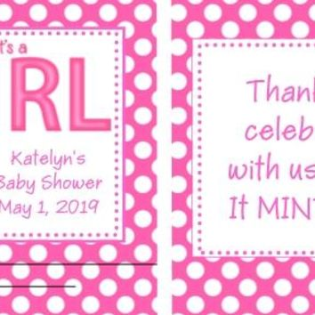 20 Its A Girl Baby Shower Mint Favors