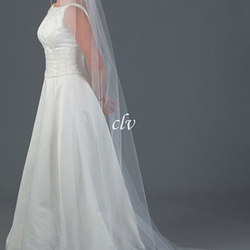 'Isabella' Chapel Length Veil with Silver Applique