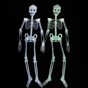 CREY6F 2set/lot Scary Halloween Skeleton Decoration Glow In Dark Halloween Props Decoration Haunted House Mask Costume 30-90-150cm