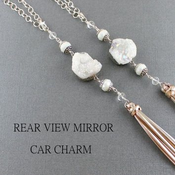 Quartz Crystal Rear View Mirror Charm - Iridescent Quartz Crystal Rear View Mirror Accessories - Rear View Mirror Crystal Tassel Decoration