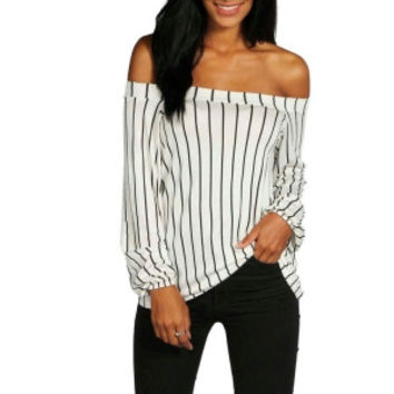 Off Shoulder Long Sleeve Stripped Tops