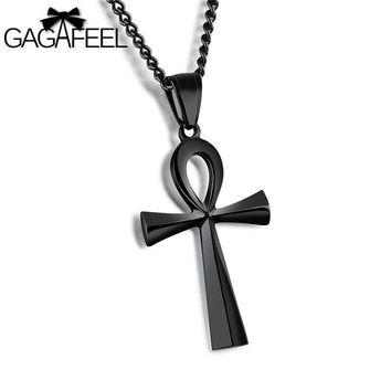 GAGAFEEL Stainless Steel Cross Pendant & Necklace For Men/ Silver/Gold/Black Color Link Chain