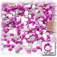 The Crafts Outlet 144-Piece Flat Back Round Rhinestones, 5mm, Fuchsia