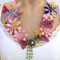 Pink Flower Statement Necklace Handcrafted Glass Pearl Long Costume Jewelry