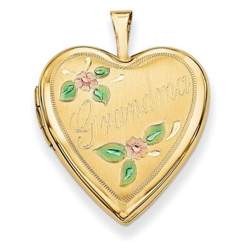 14K 20mm Enamel Flowers Grandma Heart Locket XL614