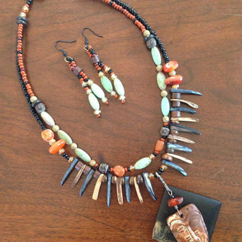 Ethnic Tribal Necklace - African Mask - Turquoise Carnelian Earthenware Necklace and Earrings SET - Omo Valley Trade