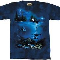 The Mountain Stormy Night Orca Whale Adult Tee T-shirt