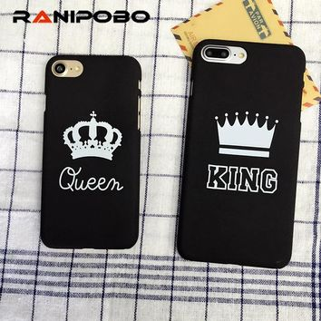 Luxury Slim Matte Hard PC Case For Apple iphone 6 6S 7 8 8 Plus X Fashion KING Queen Crown Letter Cover Phone Cases Couque