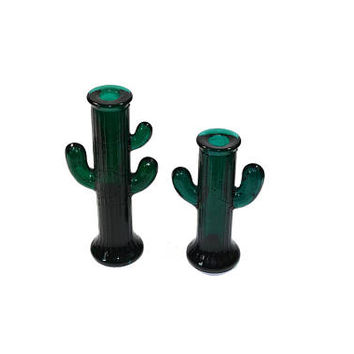 Vintage Cactus Vase Green Cactus Candle Holders Set of 2 Glass Cactus Figurines Southwestern Decor Boho Decor