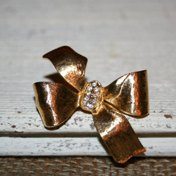Bow Brooch Ribbon Brooch Bow Pin Ribbon Pin Gold Tone Sparkly Gold Bow Gold Ribbon Gold With White Rhinestones Jewelry Brooch Gift Idea