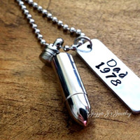Personalized Cremation Silver Bullet Urn Pendant-Stainless Steel Urn Necklace-Memorial Necklace-Remembrance Necklace-Cremation-Urn for Ashes