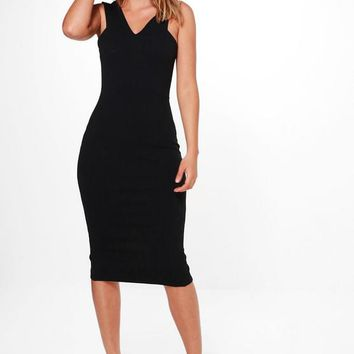 Sammy Cutaway Neck Midi Bodycon Dress | Boohoo