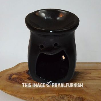 Black Ceramic Oil Burner Warmer - Ideal for Spa and Aromatherapy on RoyalFurnish.com