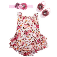 2016 Summer Newborn Baby Girl Clothes Set,Floral Toddler Baby Romper Headband Barefoot Suit Photography Props Infant Baby Onesuit