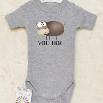 Wild Thing Baby Romper. Funny Baby Bodysuit with Cute Hypo Print. Animal Baby Clothes. Choose Your Color. With or Without Text.