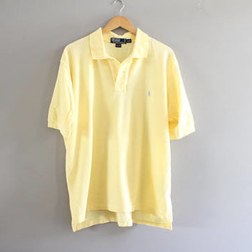 Ralph Lauren Polo Shirt Yellow Cotton Knit Classic Polo Button Up Short Sleeve Tee Minimalist Vintage 90s Size XL #T187A