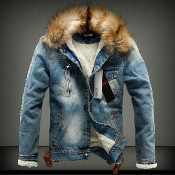 Mens Jacket with Denim Fur Collar Retro Ripped Wool Jeans Jacket