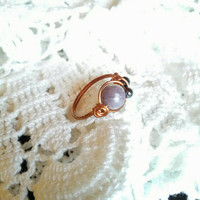 Purple Quartz and Hematite Ring, Wire Wrapped Copper Ring, Custom Rings, Thumb Rings CWR006