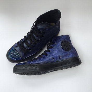 Black Rhinestone Converse Steampunk Inspired Iridescent and Opalescent Goth Glam Fashion